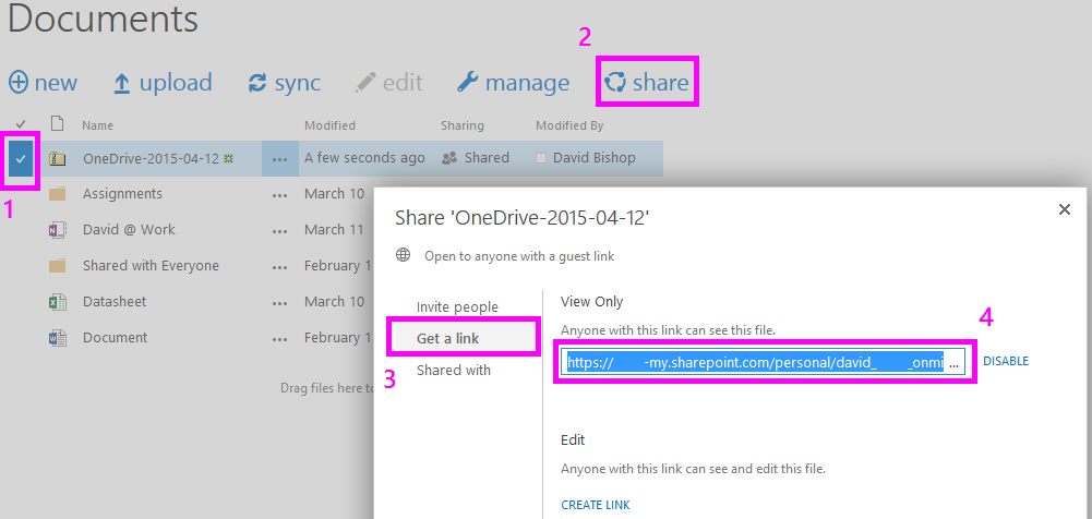 how to share one drive folder from already shared folder