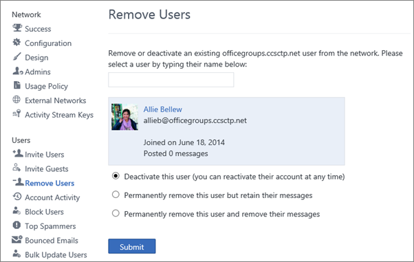 Image showing the options to either deactivate the user or permanently remove the user from Yammer