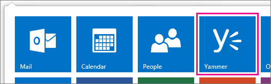 Image showing the Yammer App logo and location among other office 365 apps