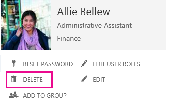 Image showing the delete link on a users profile
